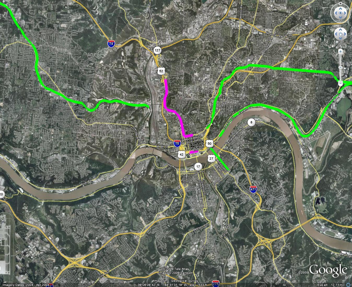 metro cincinnati Routes and Maps