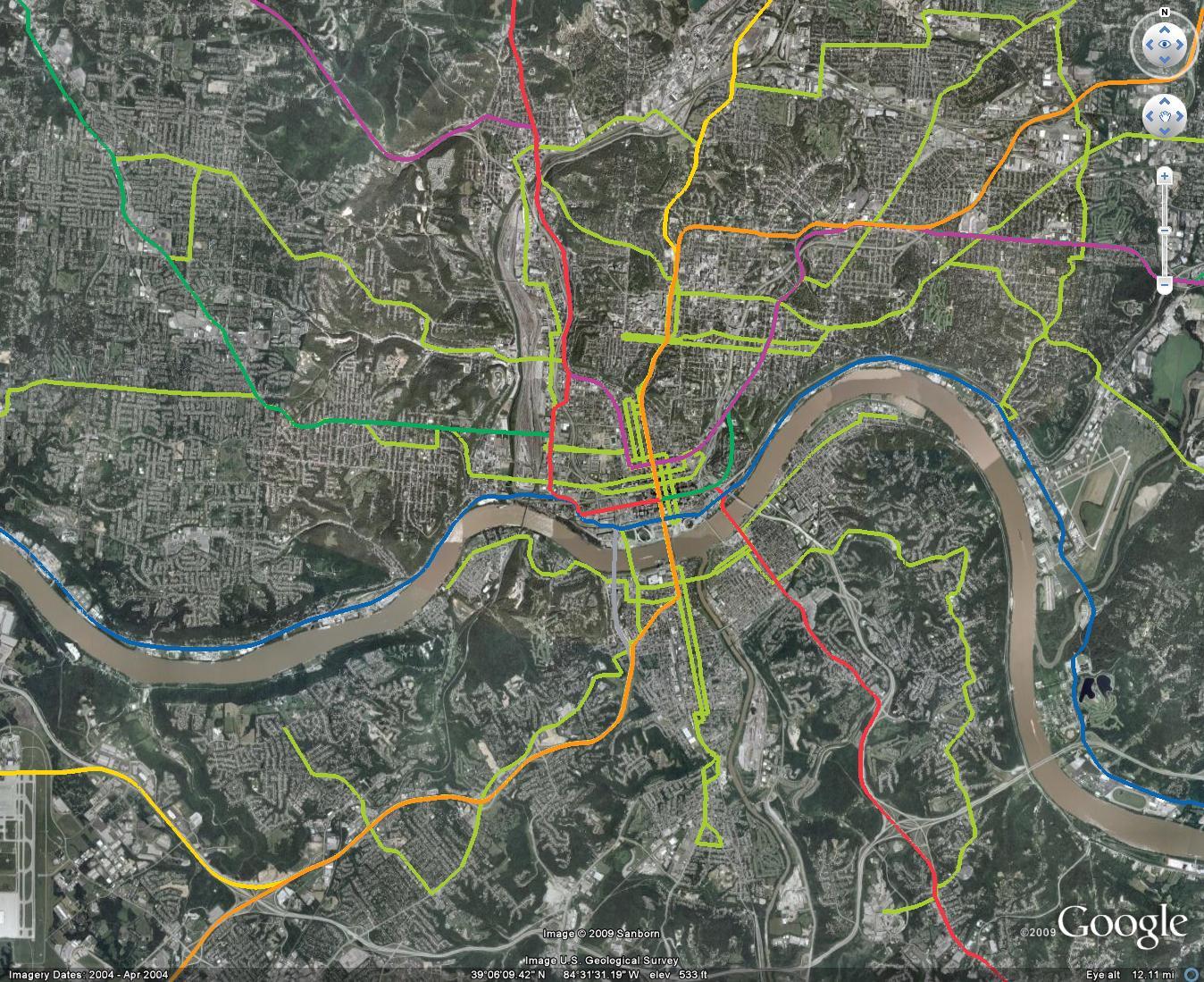 Metro Cincinnati  Routes And Maps - Nyc subway map google earth